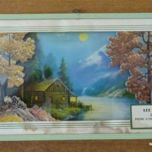 1940_s_framed_log_cabin_picture_with_thermometer_advertising_