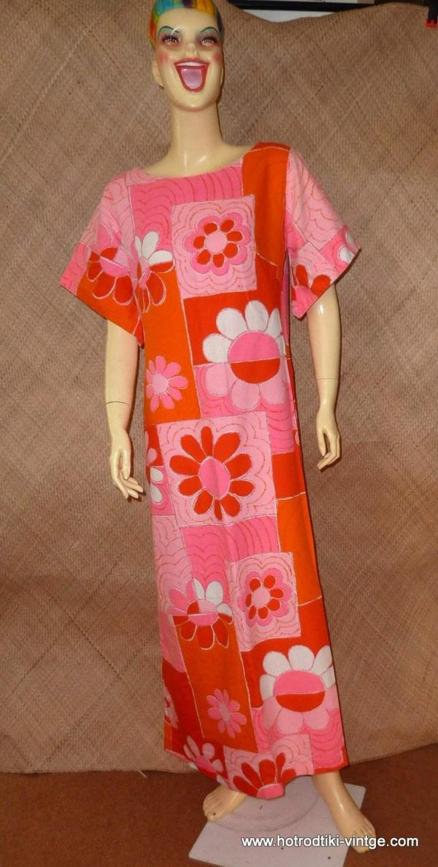 1960_s_full_length_pink_&_orange_hawaiian_dress_