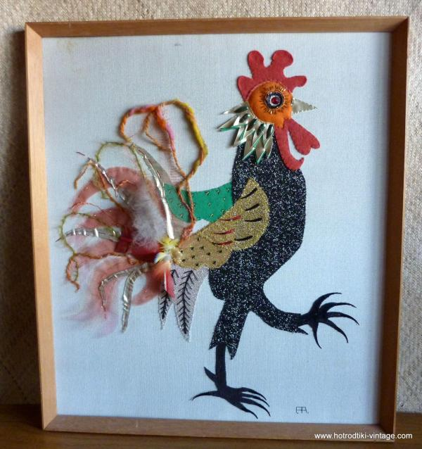 vintage_embroidered_cockerel_picture