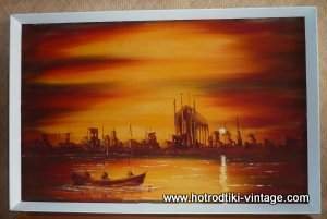 vintage_orange_sunset_boat_paintingcu1