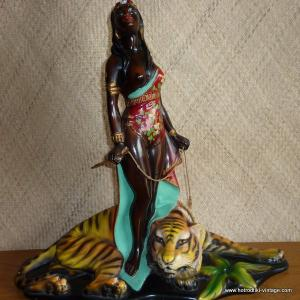 1950_s_black_lady_figure_with_tiger_statue