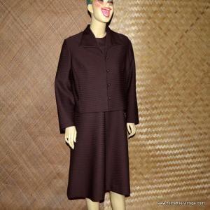 Ladies 1960's 2 Piece Brown Polyester Dress Set 1