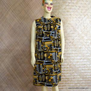 Ladies 1960's Black & Yellow Abstract Pattern Polyester Dress 1