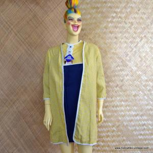 Ladies 1960's Two Piece Yellow and Blue Jacket and Dress Set 1