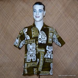 Mens 1960's Andrade Green Hawaiian Shirt 1