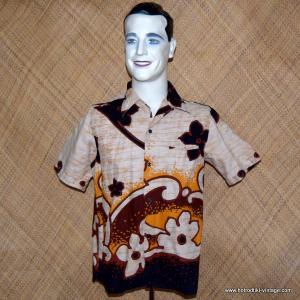 Mens 1960's Beige Malihini Hawaiian Shirt 1