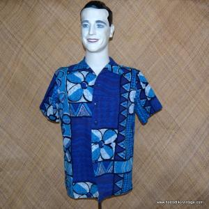 Mens 1960's Blue & White Hawaiian Shirt 1