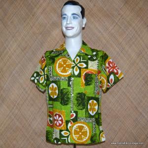 Mens 1960's Green Barkcloth Hawaiian Shirt with Yellow & Orange Abstract Patterns 1