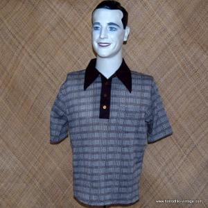 Mens 1960's Polyester Brown & Cream Top 1