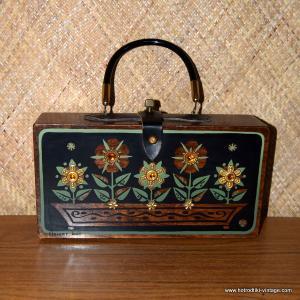 1960's Enid Collins Flower Box Wooden Handbag 2