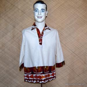 Mens 1960's Iolani Cream Hawaiian Shirt 2