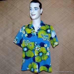 Mens 1960's Kimo's Blue Hawaiian Shirt 1