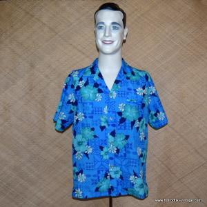 Mens Vintage 1970's Blue Polyester Hawaiian Shirt 1