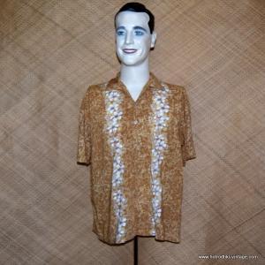 Mens Vintage Brow Rayon Hawaiian Shirt 1