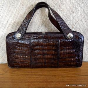 Vintage Brown Leather Crocodile Skin Handbag 1