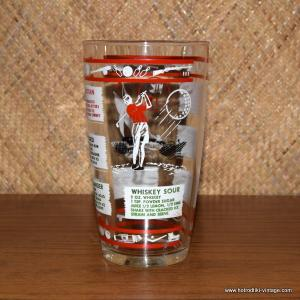 Vintage Cocktail Glass with Sport Images 1