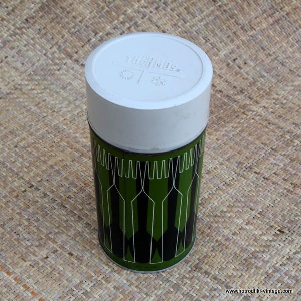 Vintage Green Thermos Flask 1