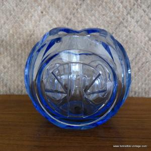 Vintage Heavy Light Blue Cut Glass Vase 1