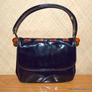 Vintage Patent Black & Orange Lucite Handbag 1