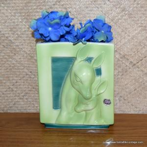 1950's Vintage Royal Copley Green Deer Vase 1