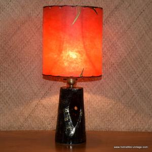 1950's American Table Lamp with Red Shade 1