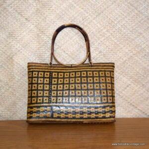 Laides Vintage Wicker Straw Round Handle Handbag 1