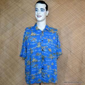 Mens Vintage Style Light Blue Hawaiian Shirt 1