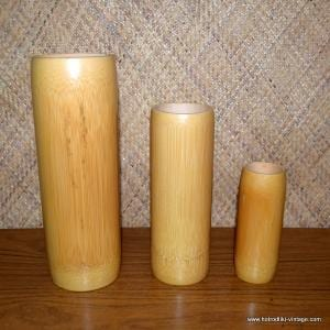 Vintage Style Set of Three Bamboo Vases 1