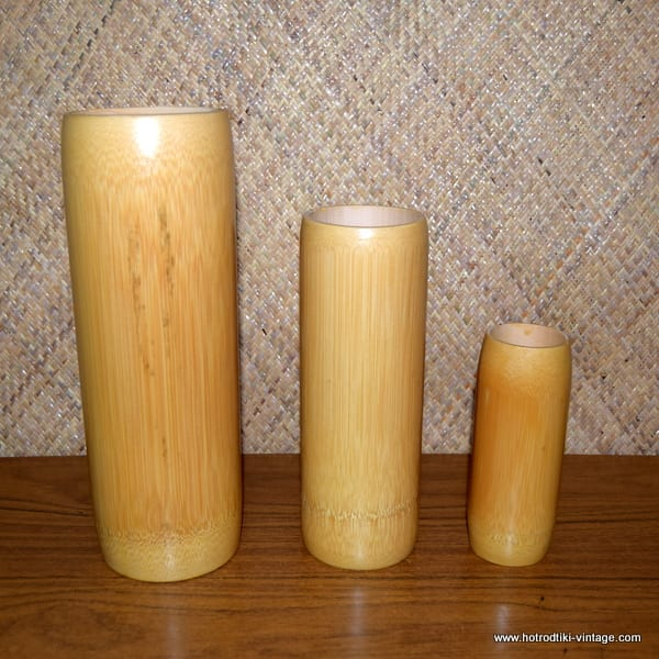 Vintage Style Set of Three Bamboo Vases 1