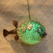 Extra Large Puffer Fish Lamp Green 4