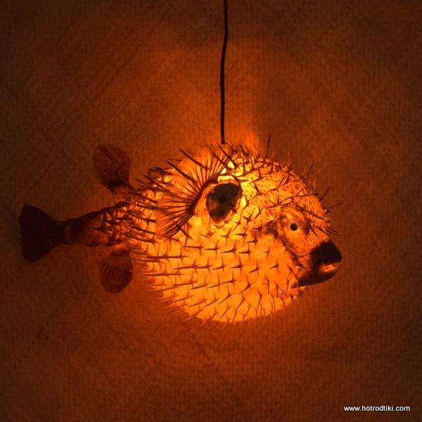 Extra Large Puffer Fish Lamp Orange 1