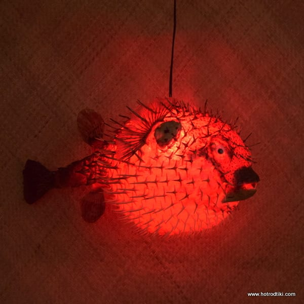 Extra Large Puffer Fish Lamp Red 3