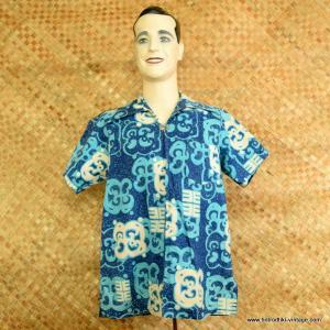 1960's Mens Blue & White Zipped Hawaiian Shirt 1