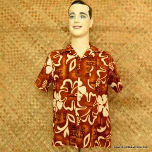 1970's Mens Hawaiian Brown & White Tiki Shirt 1