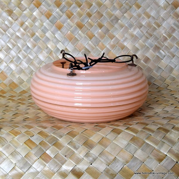 Vintage 1950's Glass Peach Ceiling Lamp 1