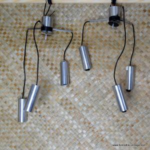 Vintage 1970's Pair of Tubular Metal Ceiling Lamps 1