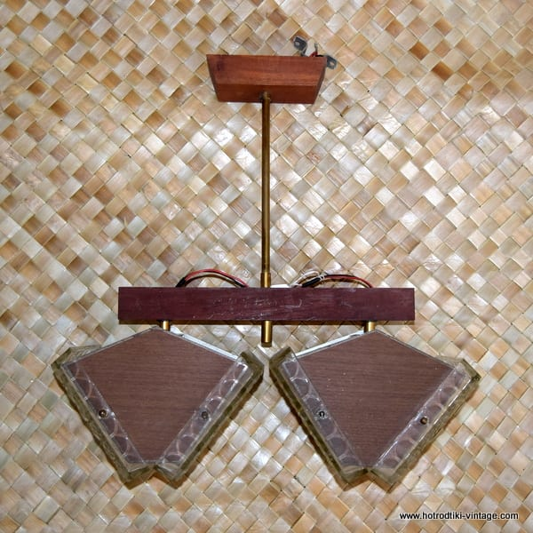 Vintage 1970's Wood & Glass Double Ceiling Lamp 1
