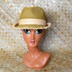Vintage Style Rafia Trilby Hat 1