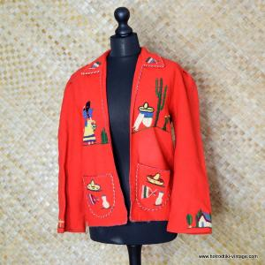 1950's Ladies Mexican Tourist Jacket in Red 7