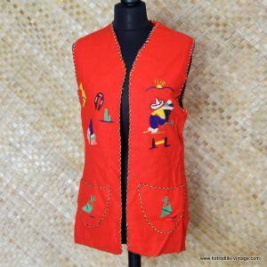1950's Ladies Vintage Mexican Tourist Waistcoat in Red 1