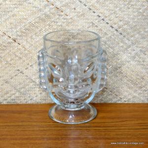 Vintage Clear Glass Two Faced Tall Tiki Mug 1