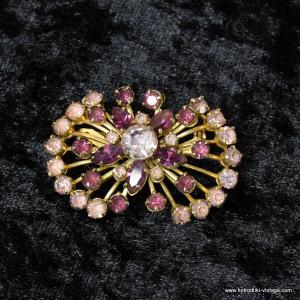 Vintage Purple Coloured Stone Brooch 1