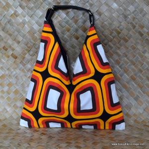 Vintage Style Abstract Orange Handbag 1