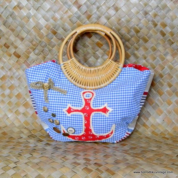 Vintage Style Nautical Bamboo Handled Bag 2