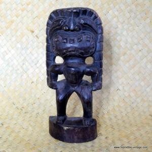 Vintage Style Light Wooden Tiki Statue 1