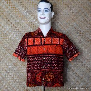 Mens 1960's Iolani Hapa Jac Red Hawaiian Shirt 1
