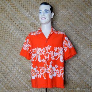Mens 1960's Orange & White Hawaiian Togs Shirt 1