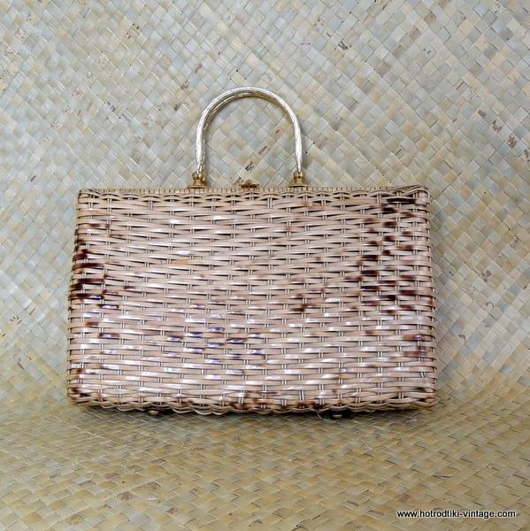 1960's Large Oblong Ladies Vintage Wicker Handbag 1
