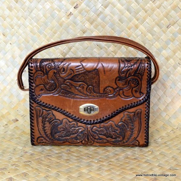 Ladies Vintage Leather Tooled Handbag with Horses 1