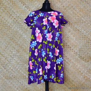 1960's Ladies Vintage Hukilau Fashion Purple & Pink Hawaiian Dress 1